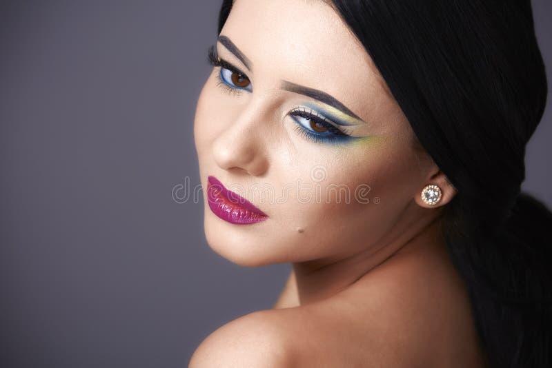 Beautiful Fashion Luxury Makeup, long eyelashes, perfect skin fa royalty free stock photo