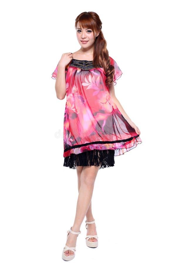 Beautiful fashion model asian girl in modern dress royalty free stock photo