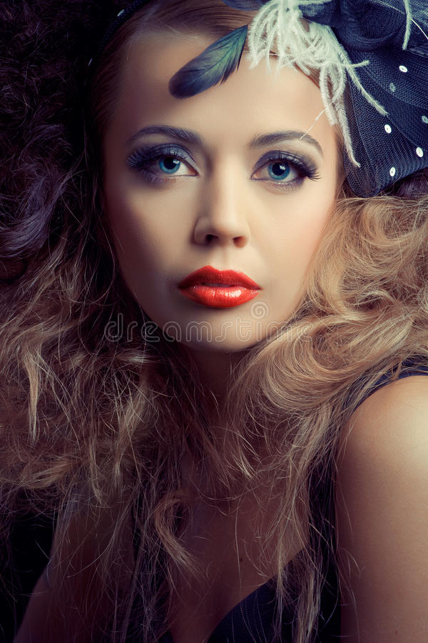 Beautiful fashion model, classic retro style look royalty free stock images