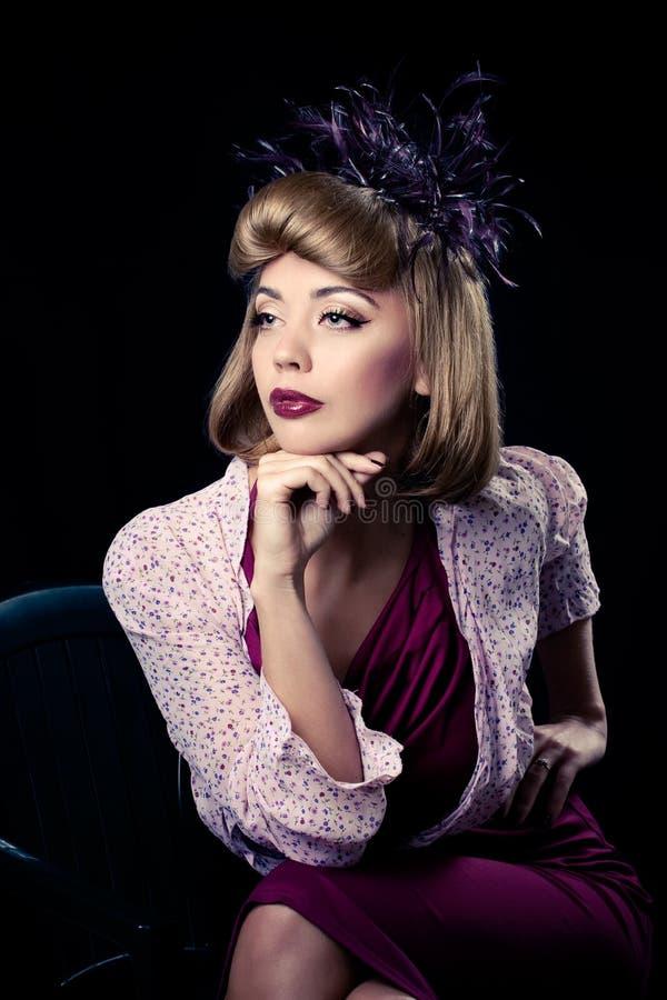 Beautiful fashion model, isolated on black stock photos