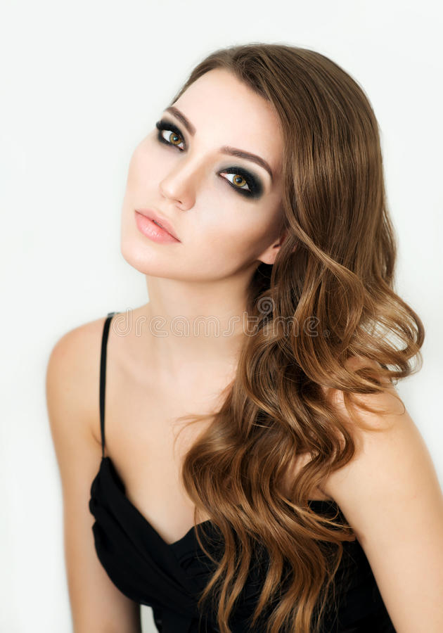 Beautiful Fashion Model with make up, Perfect Fresh Skin and Lon royalty free stock image