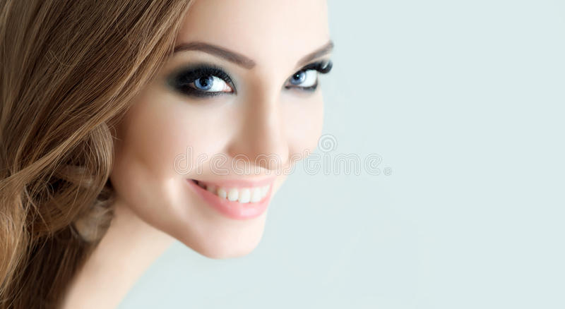 Beautiful Fashion Model with make up, Perfect Fresh Skin and Lon royalty free stock images