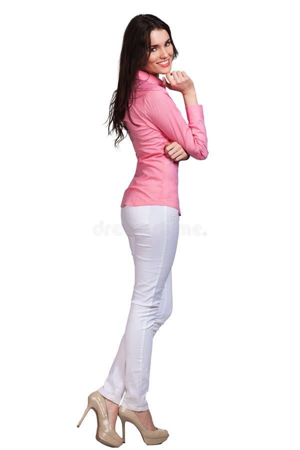 Beautiful Fashion model wearing dress stock image