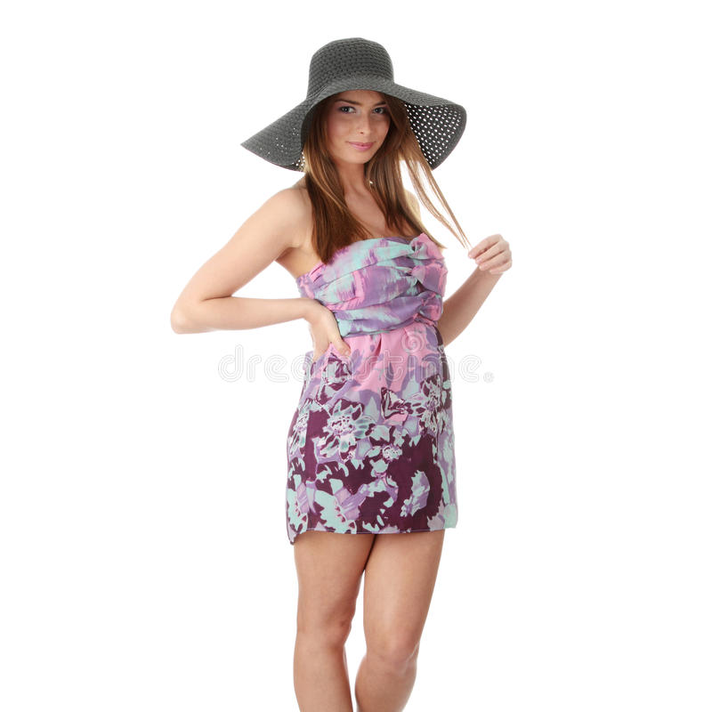 Beautiful Fashion Model Wearing A Retro Summer Hat Royalty Free Stock Photo