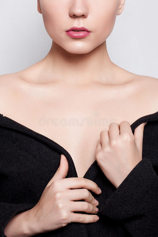Beautiful fashion model Woman brunette short hair and red eyelids royalty free stock photos