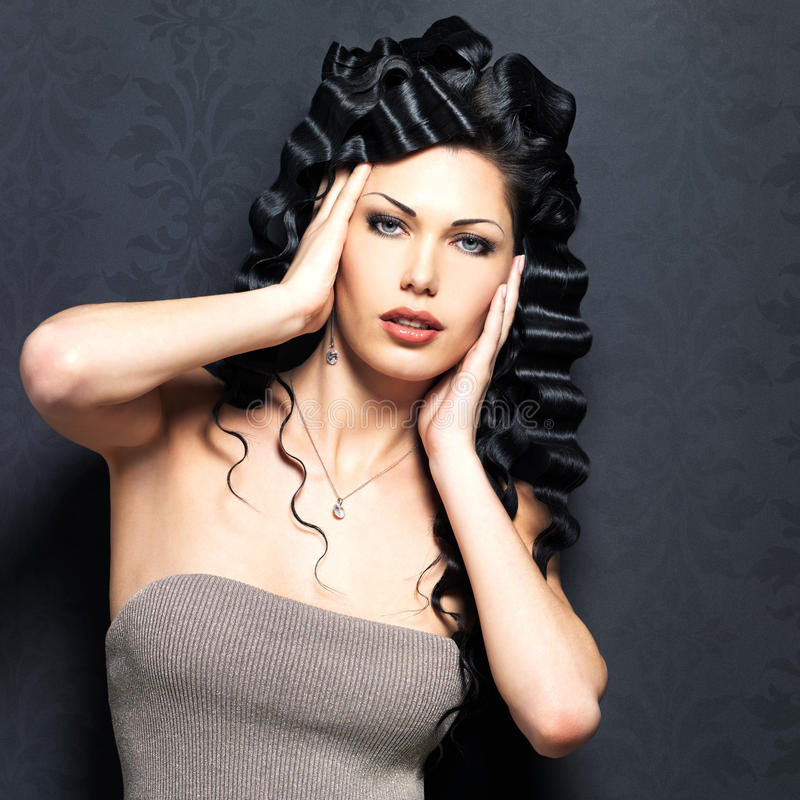Download Beautiful Fashion  Woman With Curly Hairstyle Stock Image - Image: 34371845