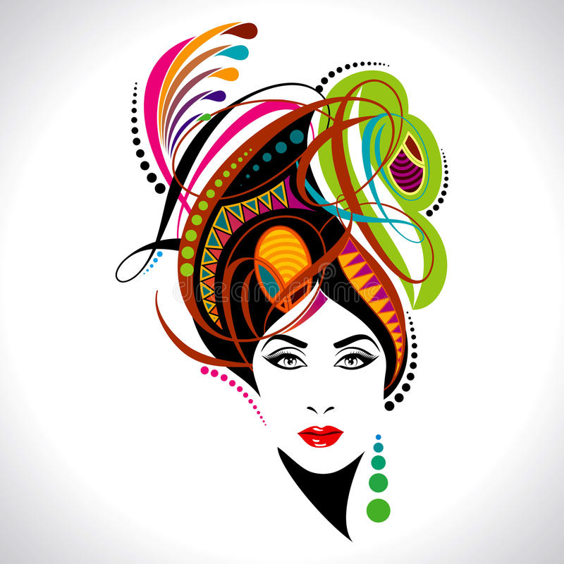 Beautiful fashion stylish women portrait royalty free illustration