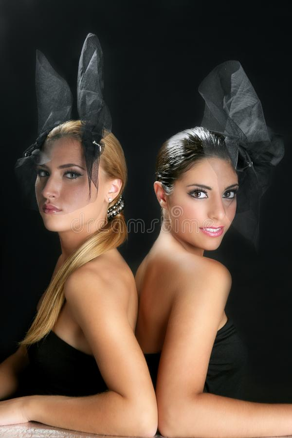 Beautiful Fashion Two Women With Veil Royalty Free Stock Images