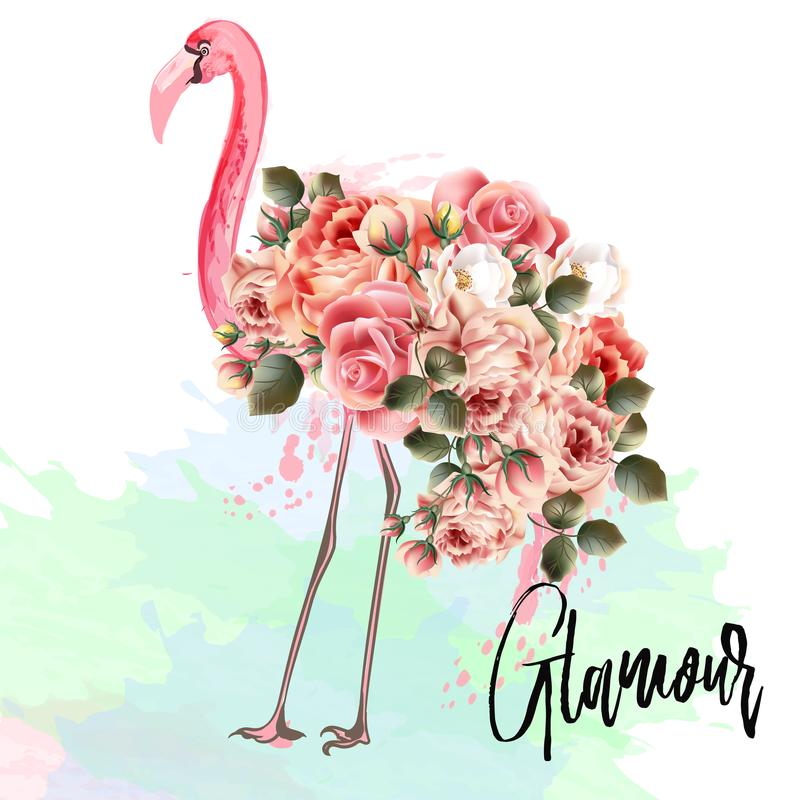 Beautiful fashion vector illustration with pink flamingo and ros vector illustration