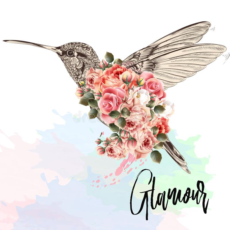 Beautiful fashion vector illustration with pink hummingbird and stock illustration