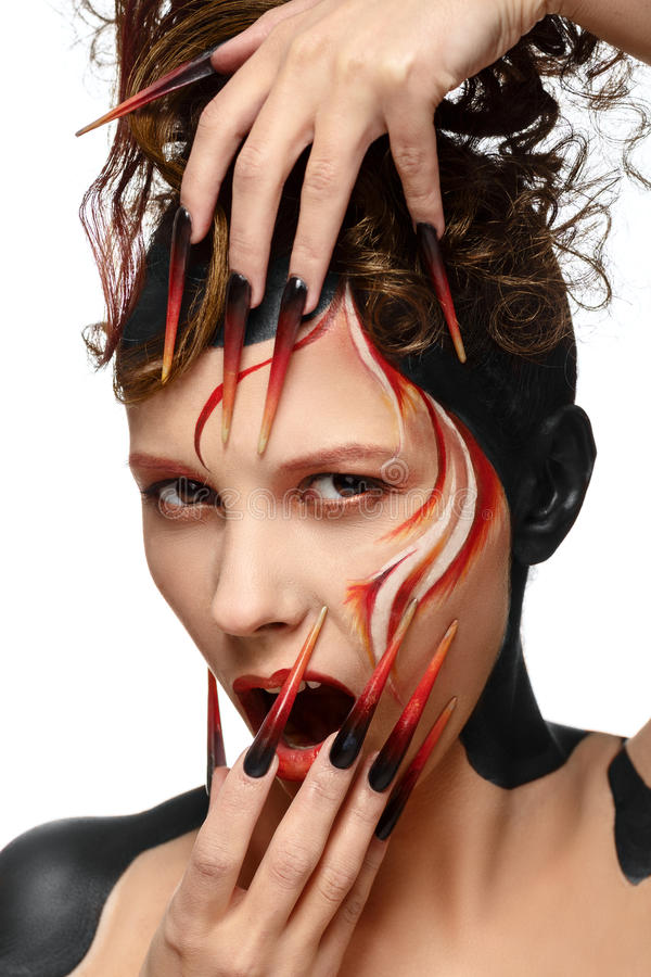 Beautiful fashion woman color face stock images