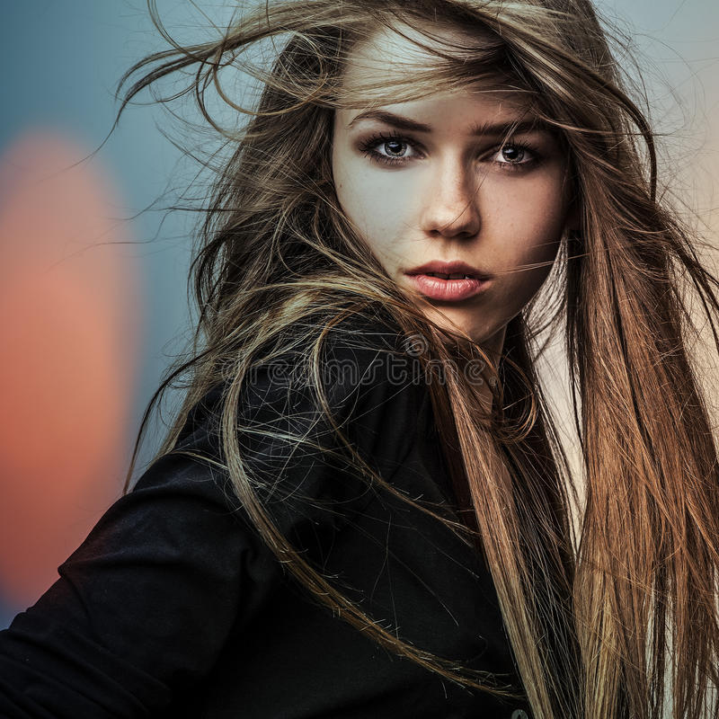 Beautiful fashion woman. Color face pop art. stock photos