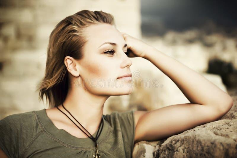 Beautiful Fashion Woman Portrait. Portrait of Beautiful Stylish Girl royalty free stock photo