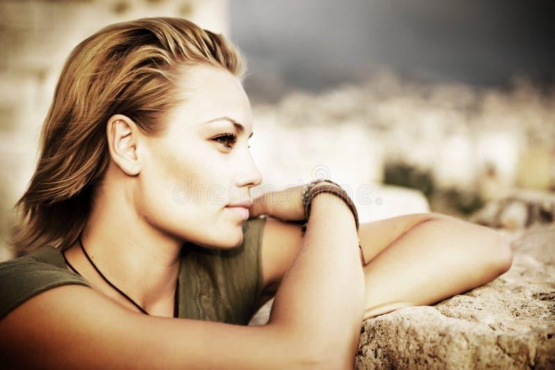 Beautiful Fashion Woman Portrait. Portrait of Beautiful Stylish Girl royalty free stock photos