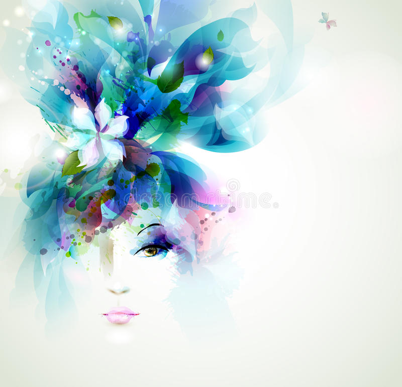 Beautiful fashion women. Face with natural elements, flowers and butterflies royalty free illustration