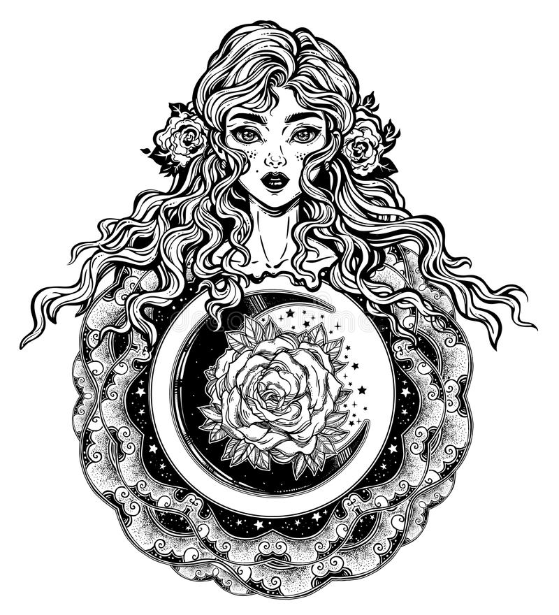 Beautiful fashion women, girl with abstract long hair and beautiful nigth rose in the crescent moon. Hand drawn face. Zen-doodle art, tattoo design. Ornate vector illustration