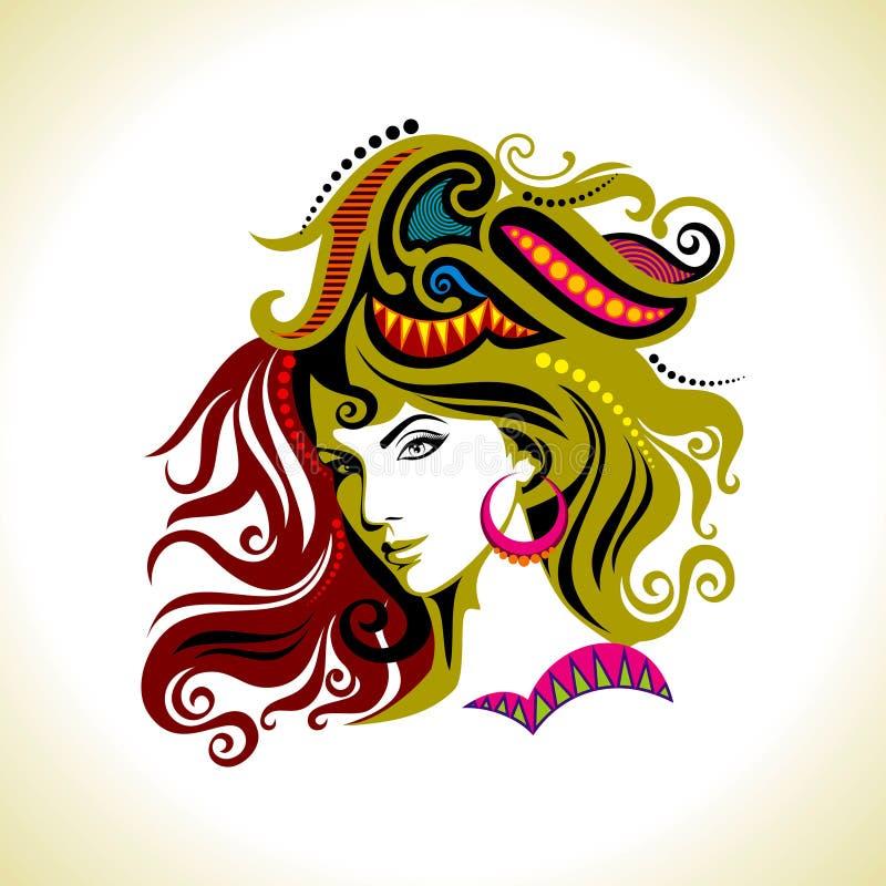 Beautiful fashion women portrait in floral pattern vector illustration