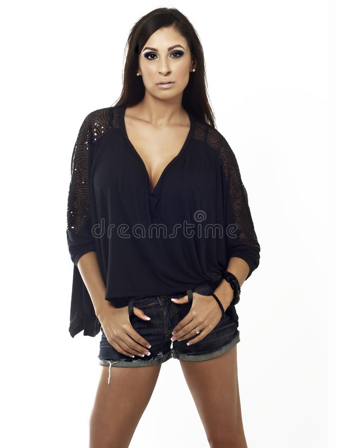 Beautiful Fashionable Brunette Woman Royalty Free Stock Images