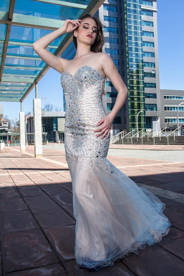 Fashion woman in dress stock images