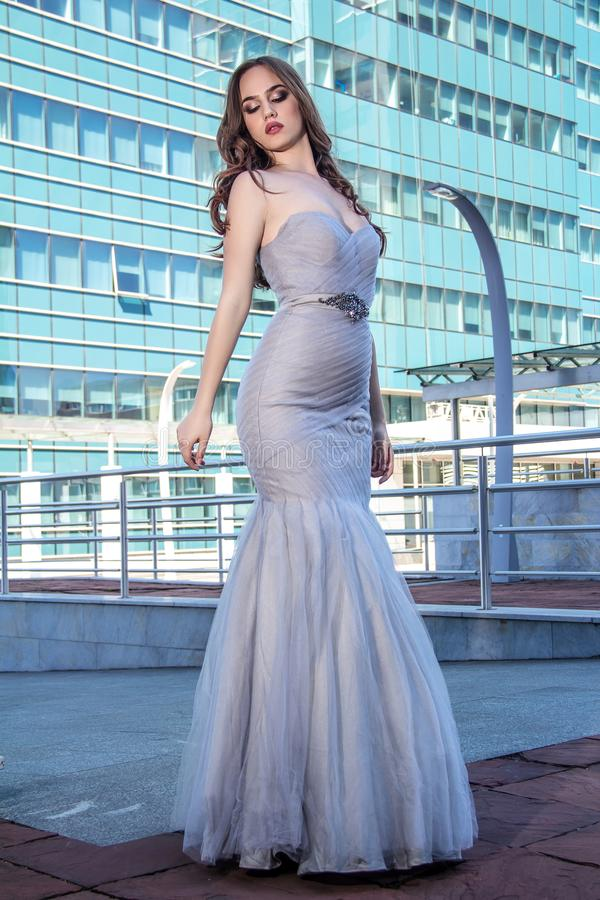 Fashion woman in dress royalty free stock photos