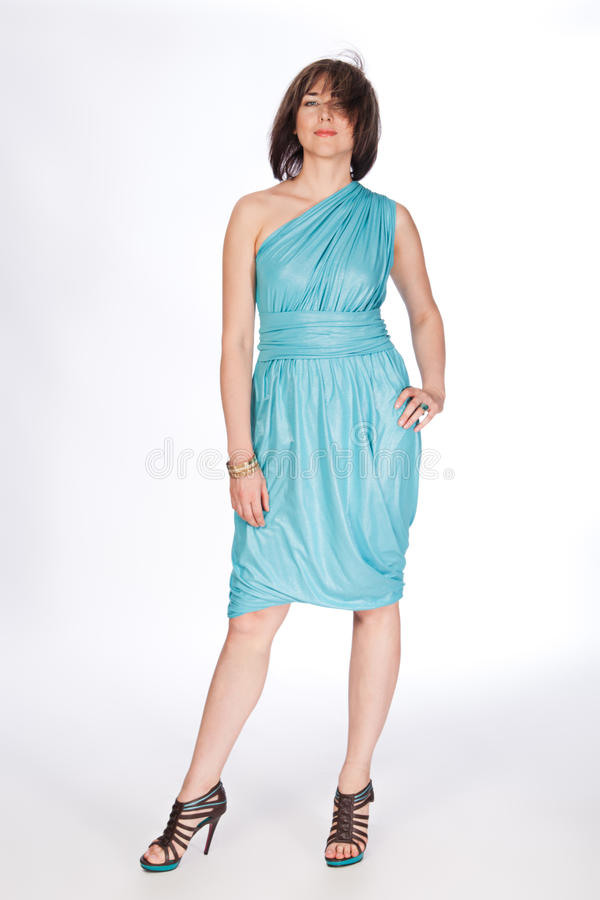 Download Beautiful Fashionable Woman In Turquoise Dress. Stock Photo - Image: 26118252