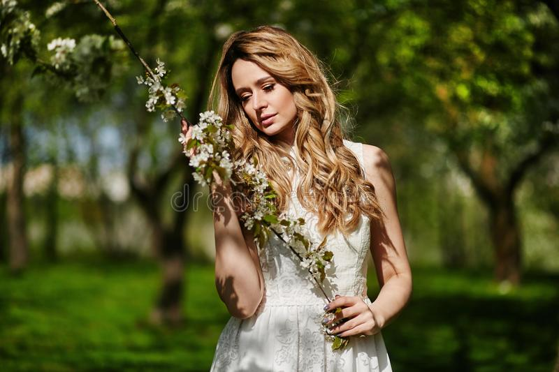 Beautiful and fashionable young blonde woman in white dress posing outdoors in park royalty free stock images