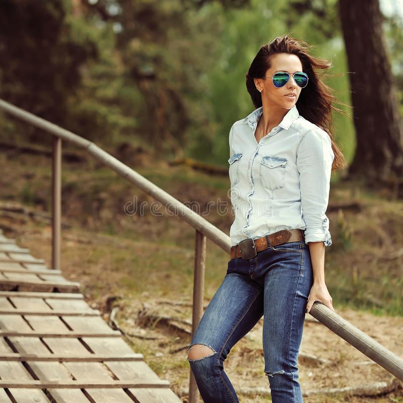 Beautiful fashionable young woman portrait.  royalty free stock image