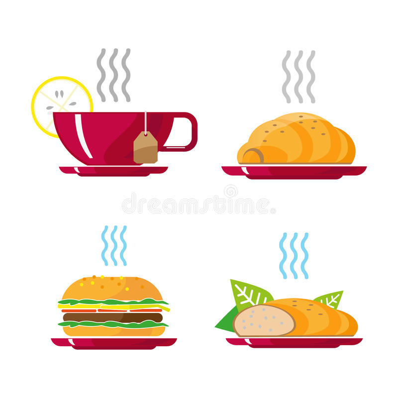 Beautiful fast food white background. Cheeseburger pizza tea coffee vector illustration. royalty free stock images