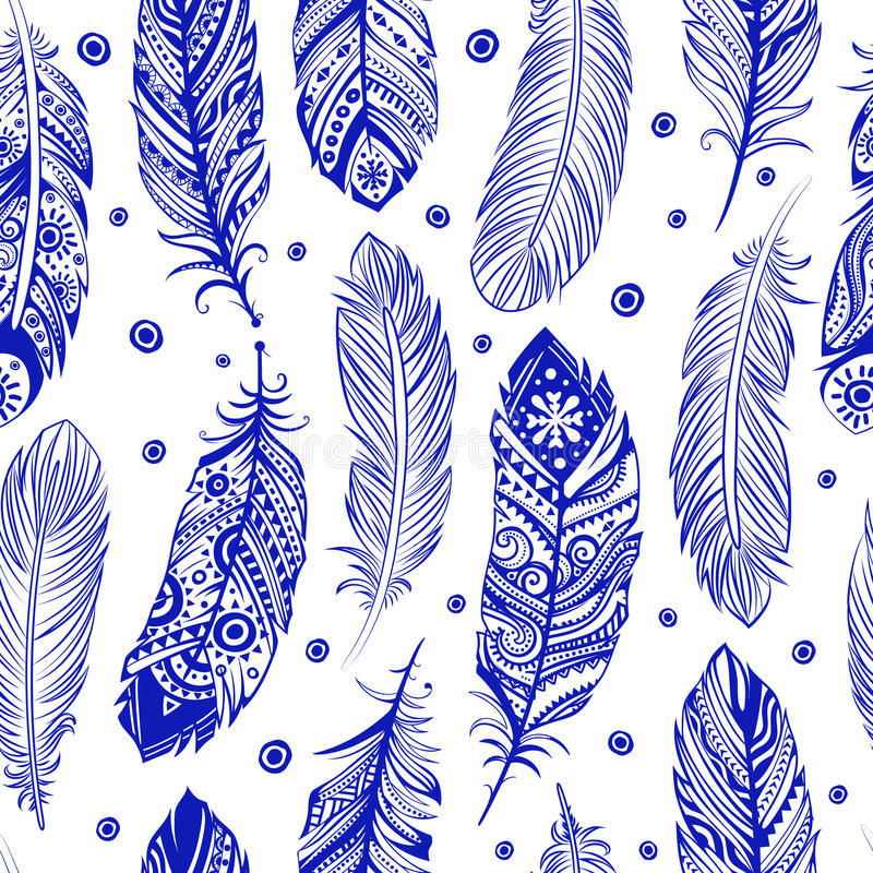 Beautiful Feather pattern seamless royalty free illustration