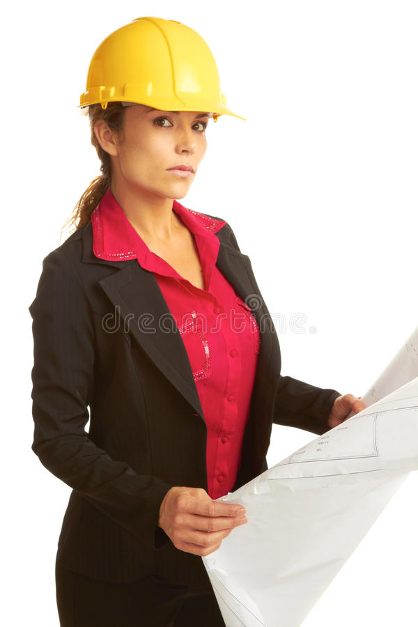 Beautiful female architech with business plans stock photos