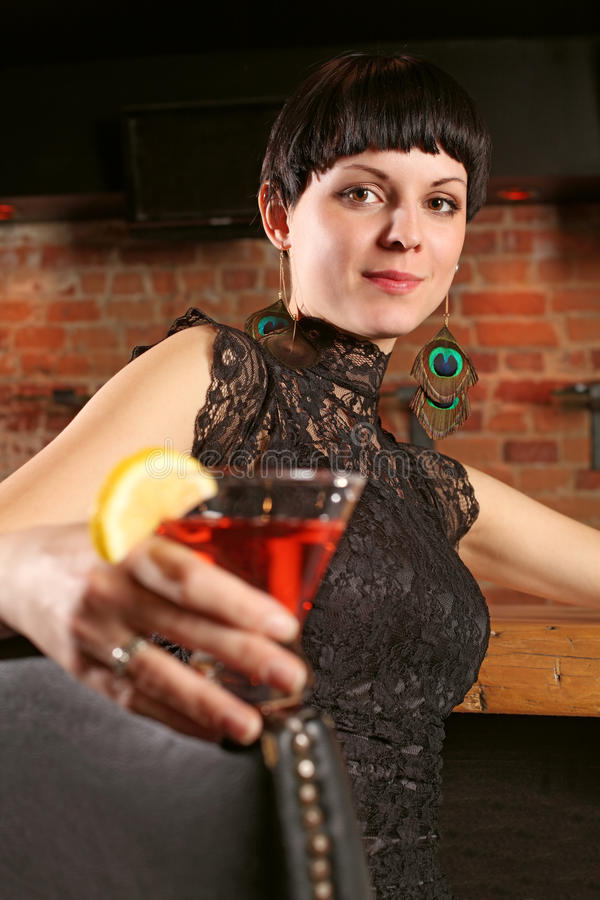 Download Beautiful female at a bar stock photo. Image of martini - 19150634