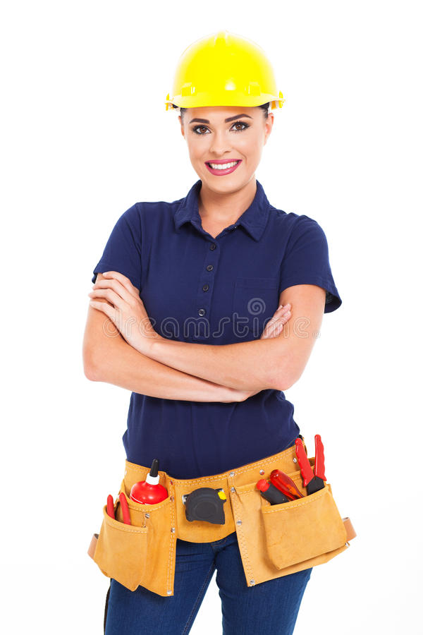 Female construction contractor royalty free stock images