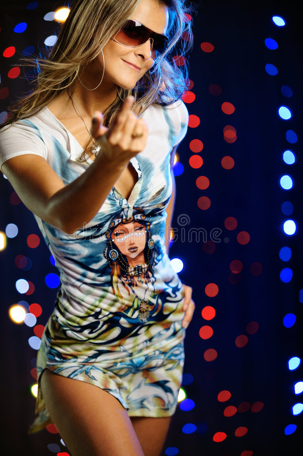 Beautiful female dancing stock photography