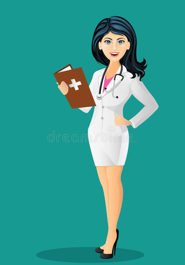 Beautiful female doctor with stethoscope in white lab coat, holding a medical record vector illustration