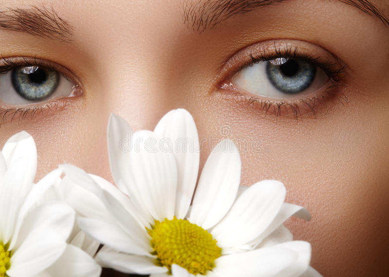 Beautiful female eye. Clean skin, fashion natural make-up. Good vision. Spring natural look with chamomile flowers stock photo