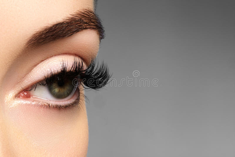 Beautiful female eye with extreme long eyelashes, black liner makeup. Perfect make-up, long lashes. Closeup fashion eyes. Beautiful macro shot of female eye with stock images