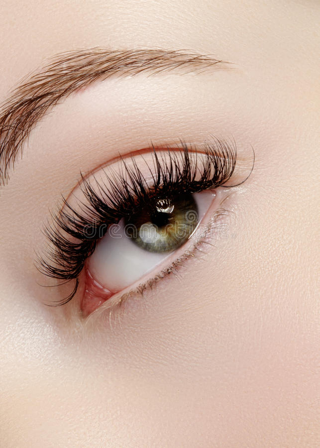 Beautiful female eye with extreme long eyelashes, black liner makeup. Perfect make-up, long lashes. Closeup fashion eyes. Beautiful macro shot of female eye with stock photos