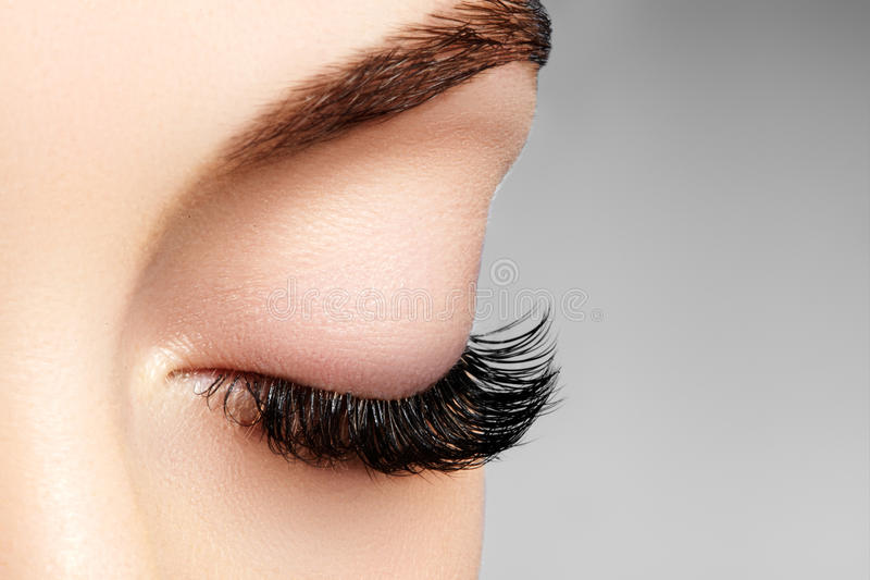 Beautiful female eye with extreme long eyelashes, black liner makeup. Perfect make-up, long lashes. Closeup fashion eyes. Beautiful macro shot of female eye with royalty free stock image