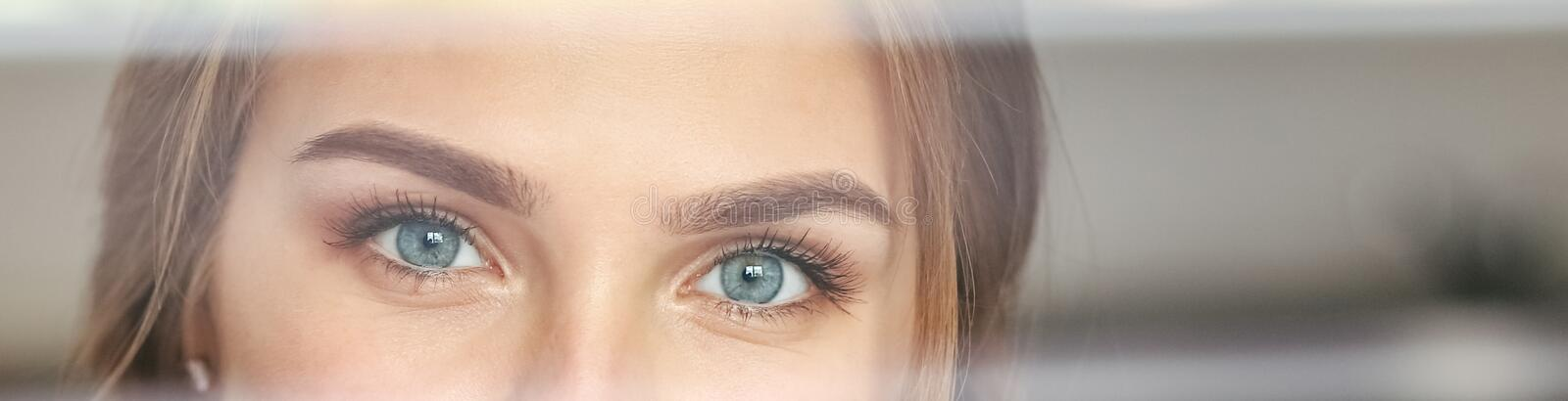 Beautiful female eyes. Banner for website. Concept of lifestyle, royalty free stock images