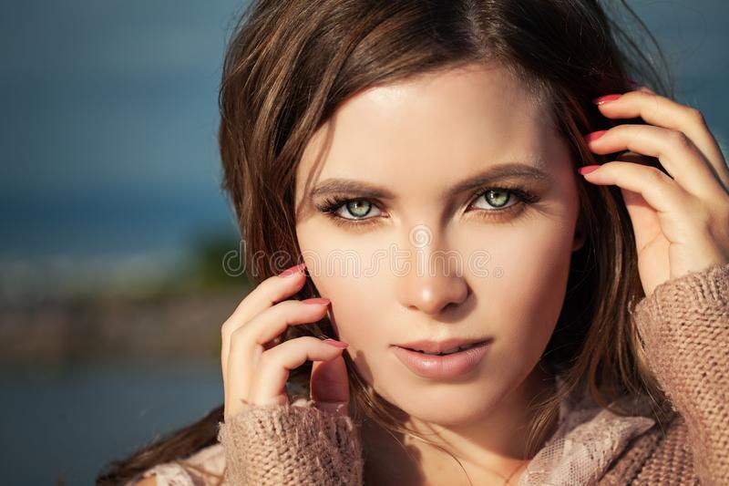 Beautiful Female Face Closeup. Woman with Natural Makeup royalty free stock photo