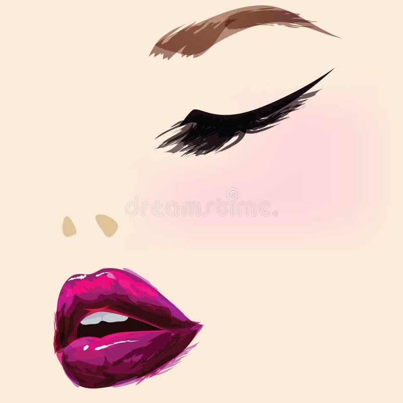 Beautiful female face vector illustration
