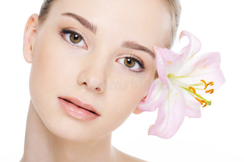 Beautiful female face with health complexion. Nice beautiful female face with health complexion close-up stock photo