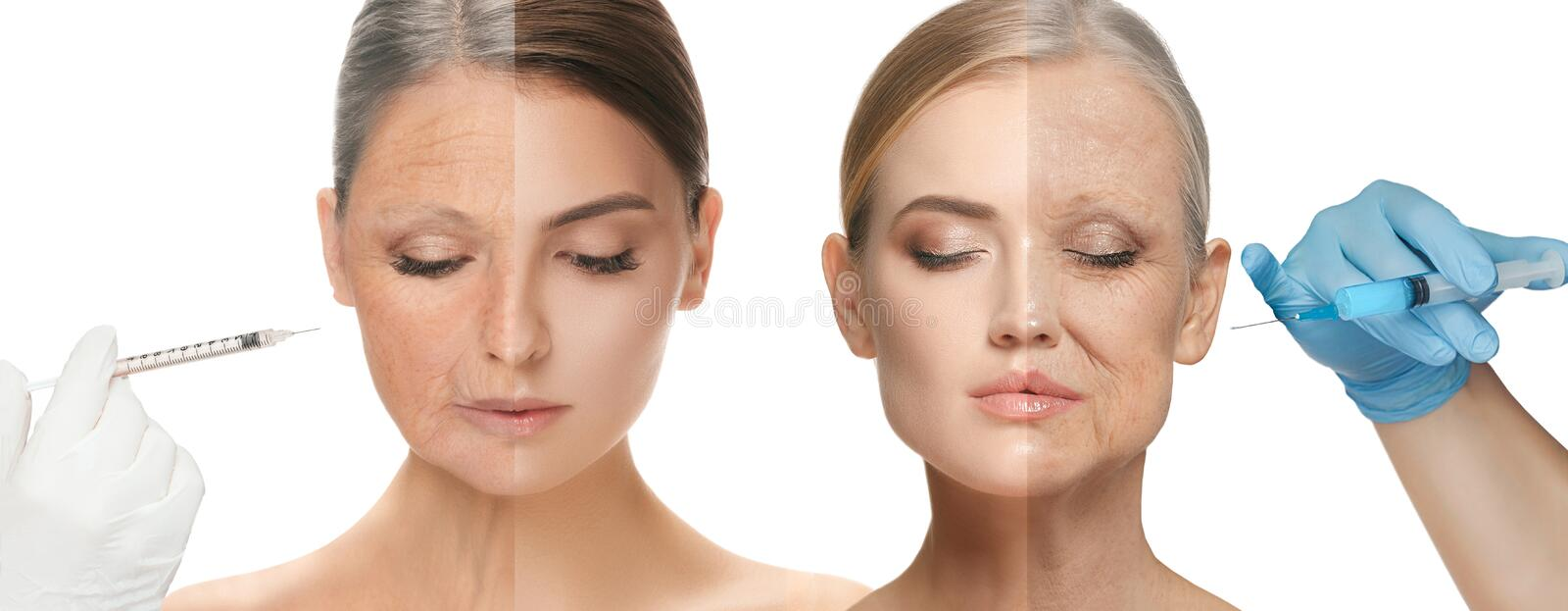 Beautiful female face, concept of skincare and lifting royalty free stock photo