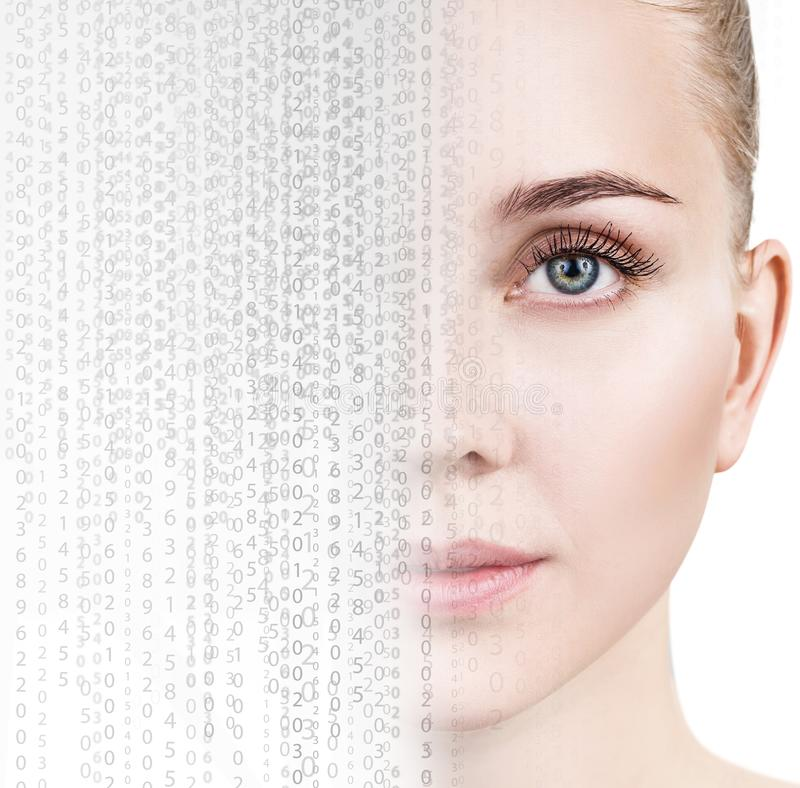 Beautiful female face transform in matrix code. Over white background. Technology concept stock image