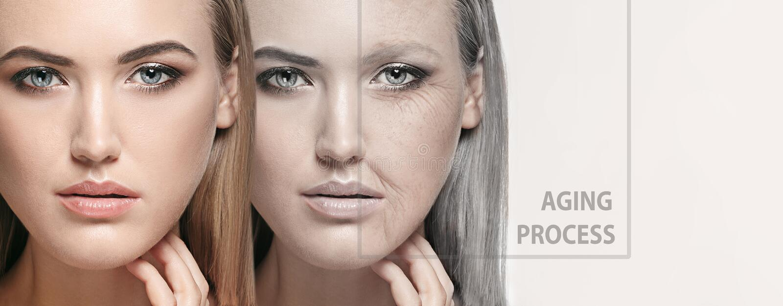 Beautiful female face, concept of skincare and lifting. Beautiful female face  on white own background. Concept of bodycare, cosmetics, skincare and lifting royalty free stock photography