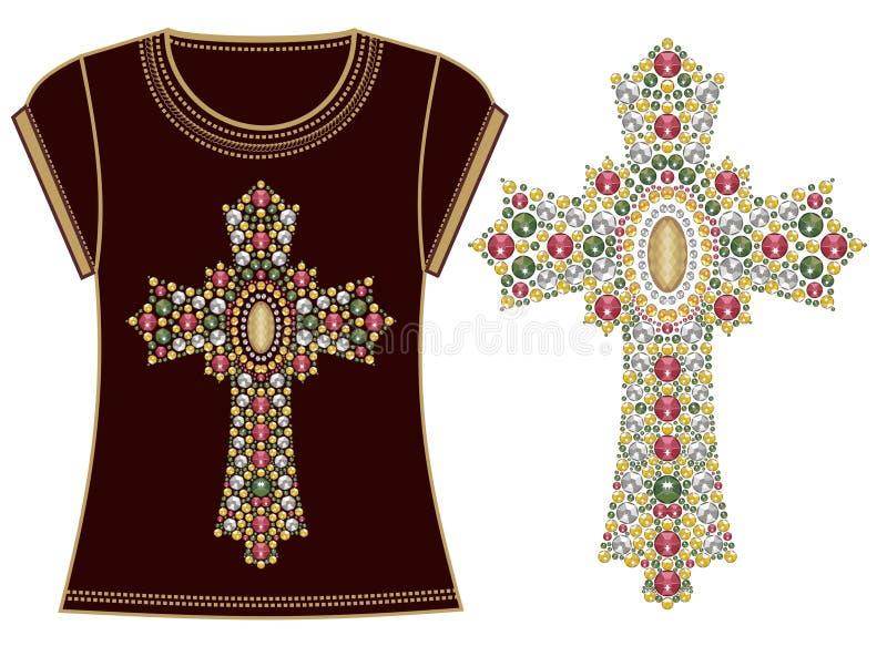 Beautiful female fashion print t-shirt Jesus Christ. Vintage gold ornate christian cross brilliant stones. Rhinestone applique. royalty free illustration