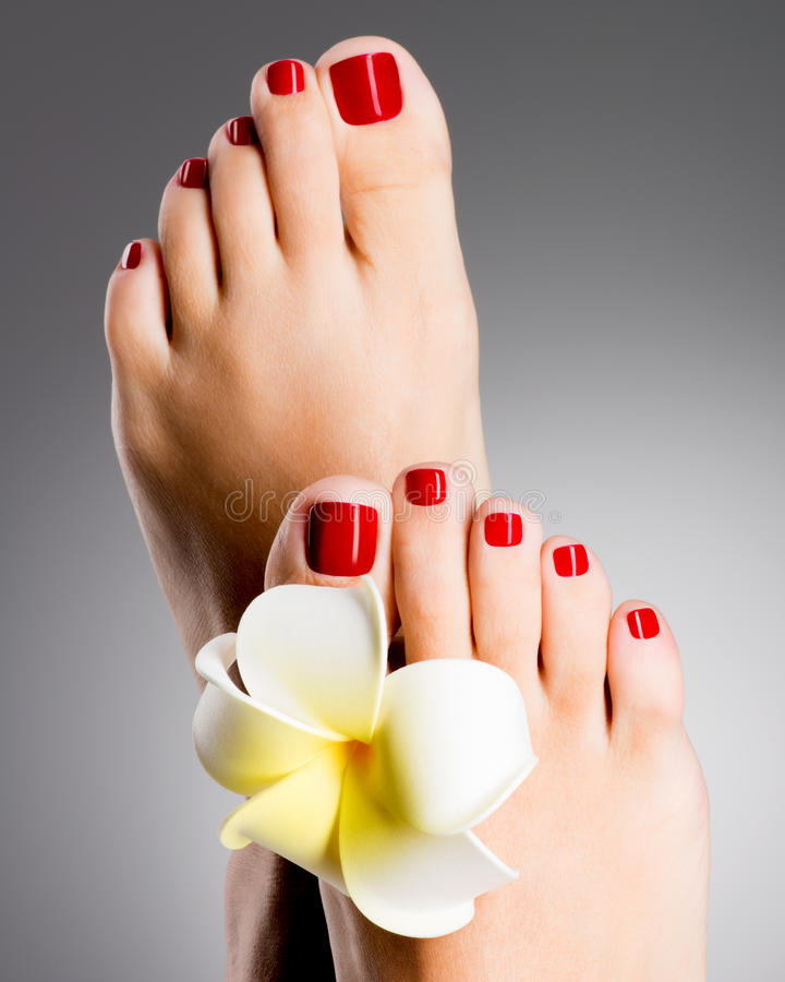 Beautiful female feet with red pedicure stock photography