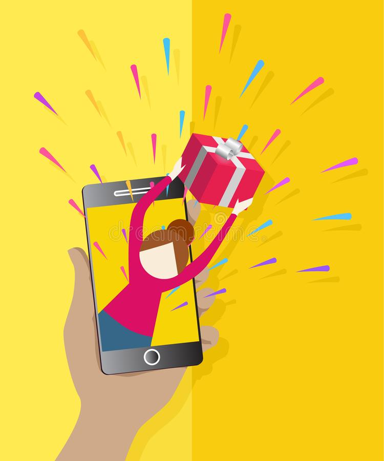 Beautiful female giving present from smartphone flat icon. Online shopping. Icons for Web and Mobile Application. EPS 10 royalty free illustration