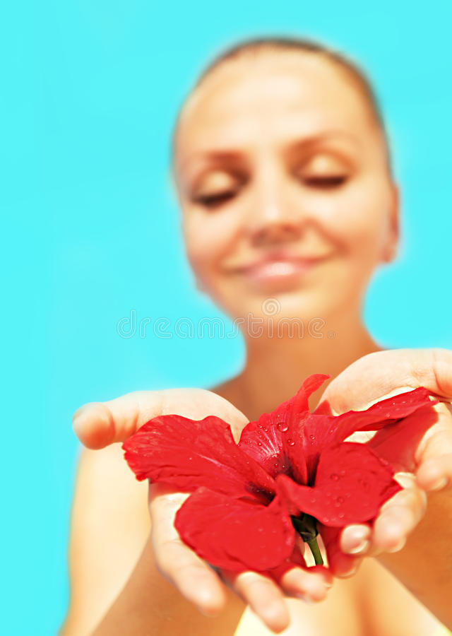 Beautiful Female Holding Red Flower Royalty Free Stock Photos