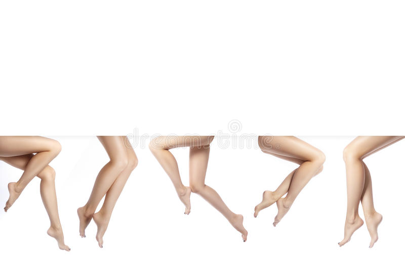 Beautiful female legs after depilation. Healthcare, foot care, rutine treatment. Spa and epilation. Copy space for you text. Beautiful female legs after royalty free stock image